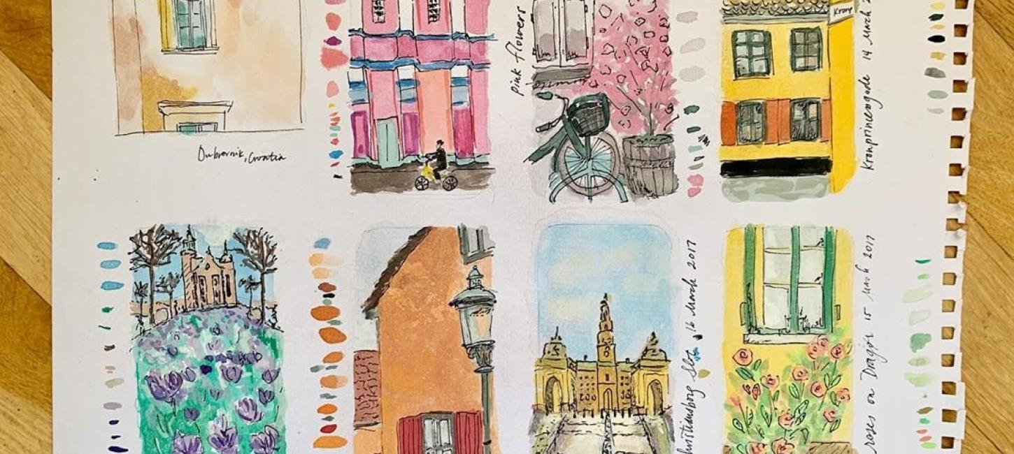 Drawings of facades in Copenhagen