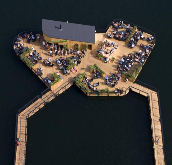 Green Island is a floating cafe in Copenhagen harbour