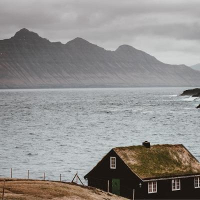 Faroe Islands hut by beach -  Isole Faroe