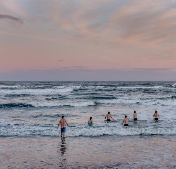 Winter bathers going into the water on a winter morning in Klitmoeller in North Jutland.