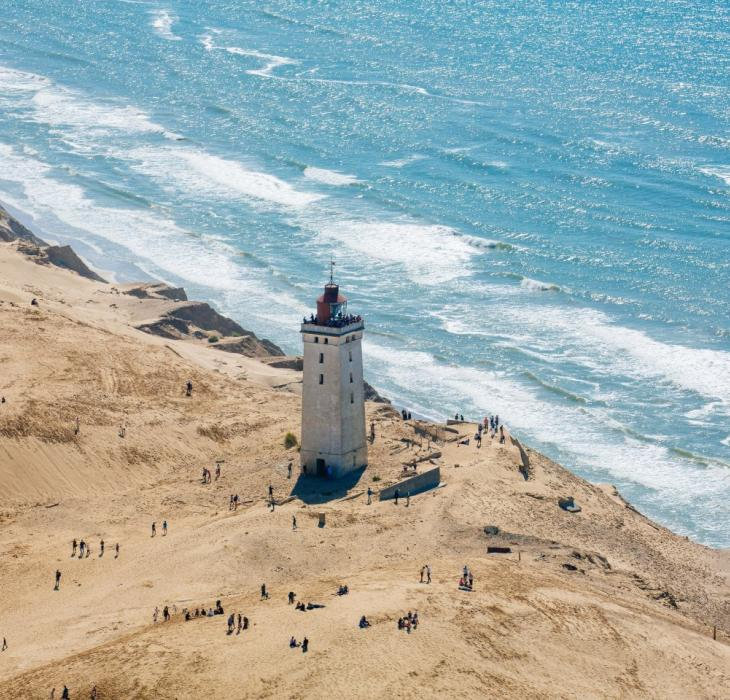 The iconic Rubjerg Knude Lighthouse moves ever closer to the sea